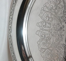 "Oneida Park Lane SIlverplate 17"" Round Flat Serving Tray c1970 Double Fl... - $19.95"