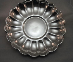 "Reed Barton Holiday 13"" Dia Fluted Scalloped Silverplate Serving Tray & Bowl 109 - $22.95"