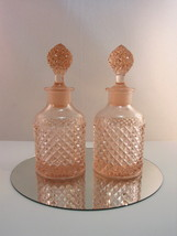 Westmoreland English Hobnail Bath Dresser Bottle Set of 2 555 Pink Peach... - $53.95