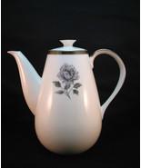 Cordon Bleu Midnight Rose Coffee Pot & Lid 6 C White Silver Single  Rose... - $35.88