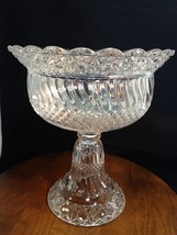 "Windsor EAPG Open COMPOTE 10"" High Standard Jersey Swirl Diamond Band Hobnail - $31.35"