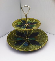 2 Tier Tidbit Pottery McCoy Morano 1968  Server Vintage Avocado Blue Glaze - $24.41