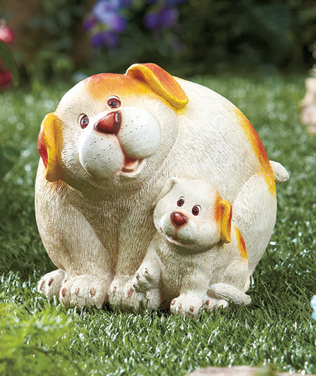 Mommy Dog & Pup White and Brown Spots  Garden Statue New