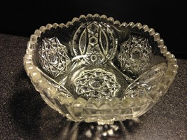EAPG Indiana Glass Togo Twin Feathers Bismarc Star c1906 Small Bowl 4 1/... - $17.12