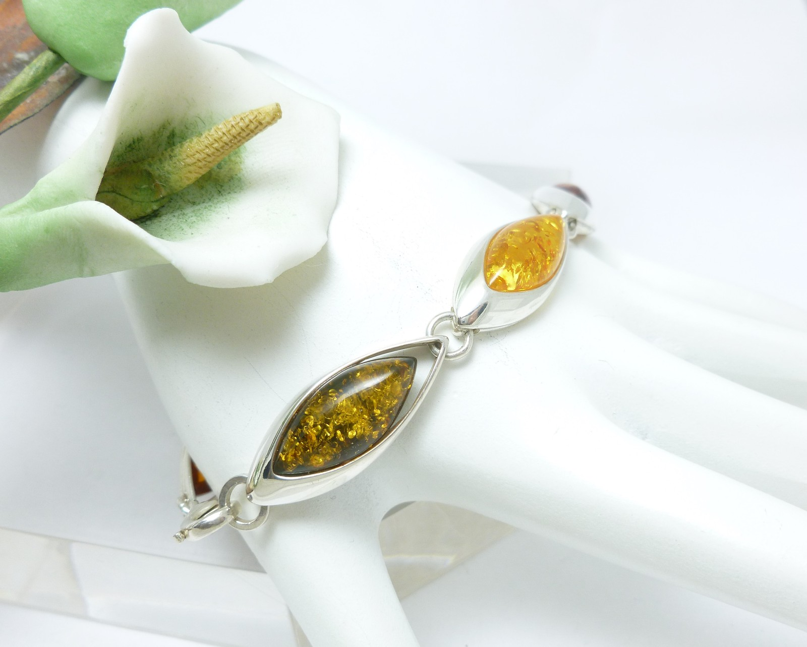"Multi Amber Marquise Sterling Silver Link Bracelet 7"""