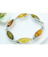 Multi Amber Marquise Sterling Silver Link Brace... - $68.00