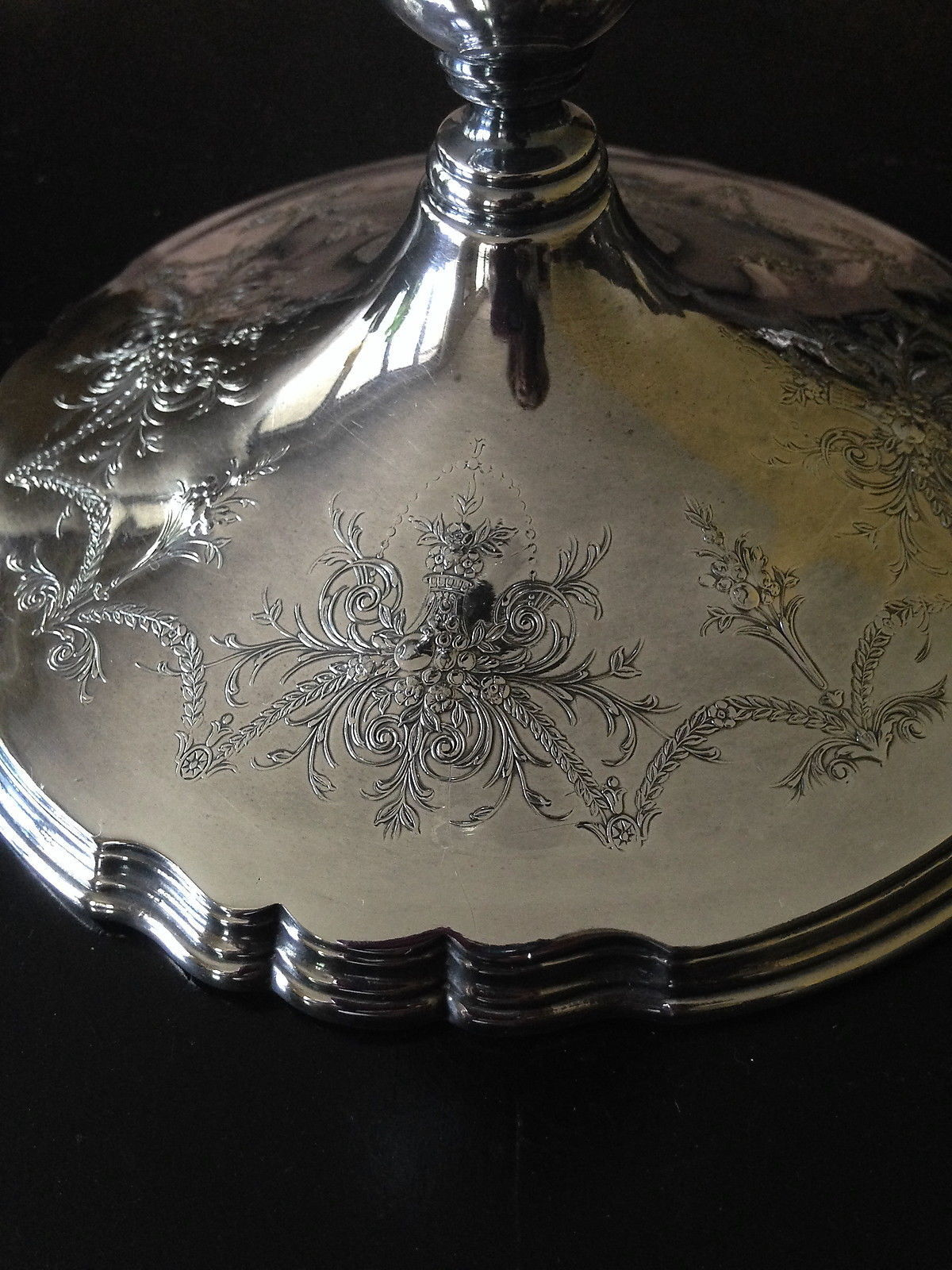 "Wilcox LADY MARY Cut Crystal Silverplate Hurricane Centerpiece Rare 16 1/2"" T image 5"