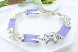 """Lavender Jade Gemstone Link Sterling Silver Bracelet 7.25"""" - $25.00"""