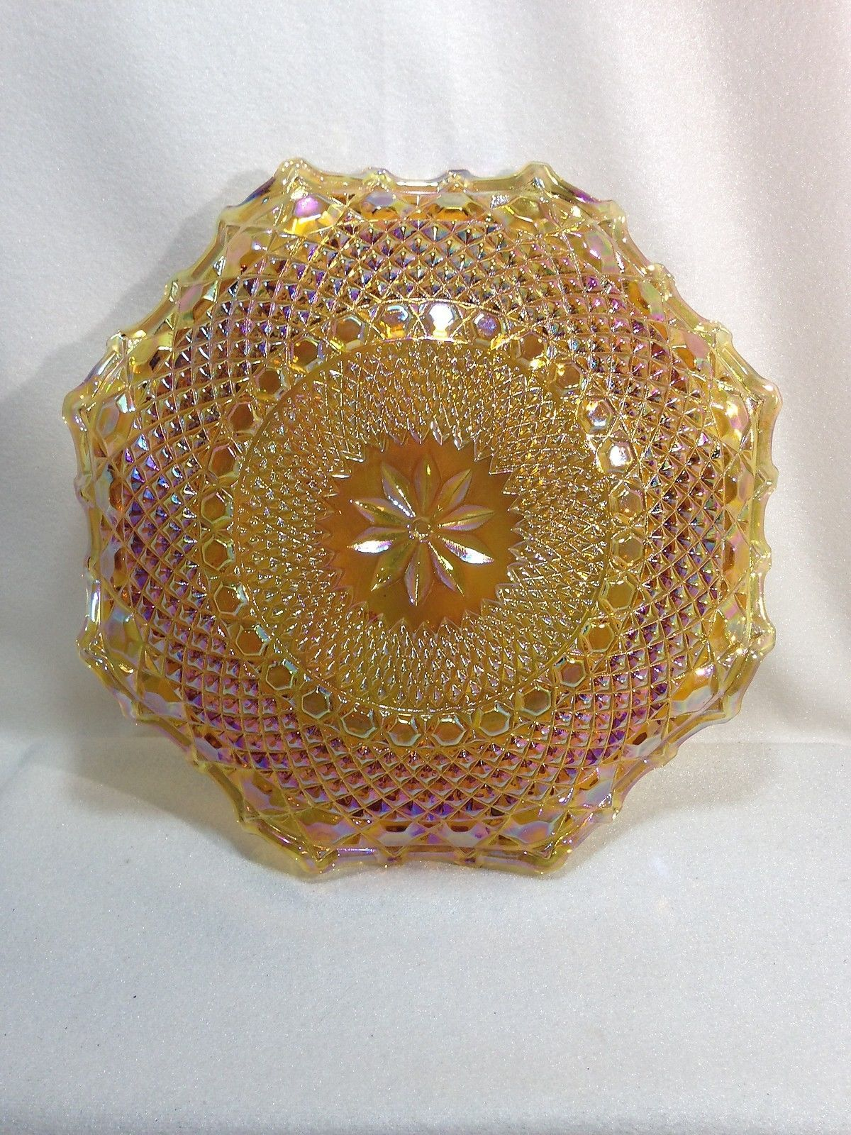 """Indiana DIAMOND POINT Marigold Carnival Glass 10"""" Low Bowl Blue Highlights"""
