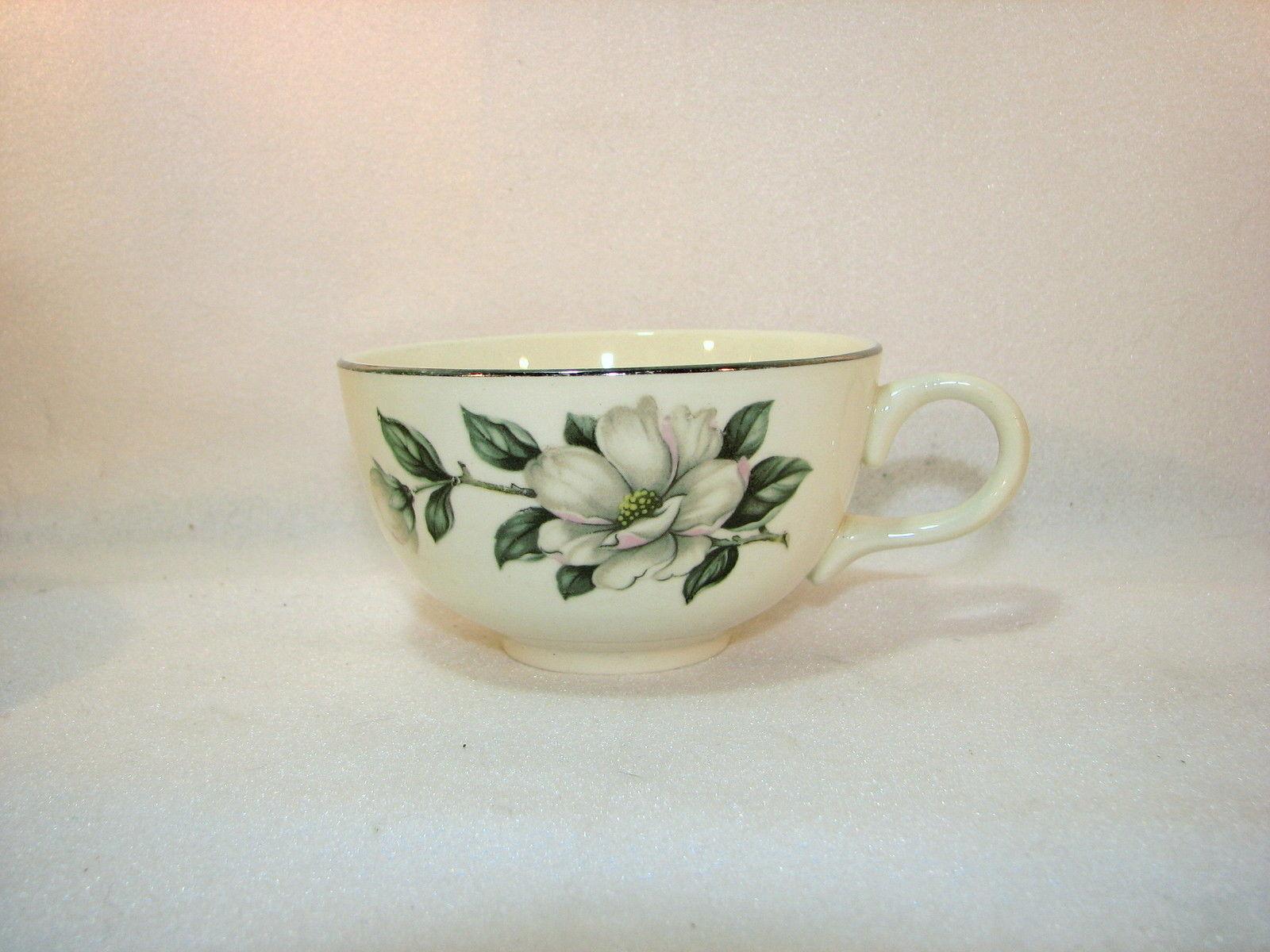 Laughlin Double Magnolia Rhythm Eggshell Coffee Cup Silver Rim K55N5 Set of 4 - $11.34
