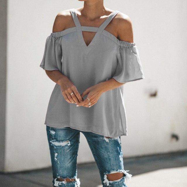 ZANZEA Plus Size Blouse 2018 Summer Women Short Sleeve Shirt Sexy Off Shlouder T image 4