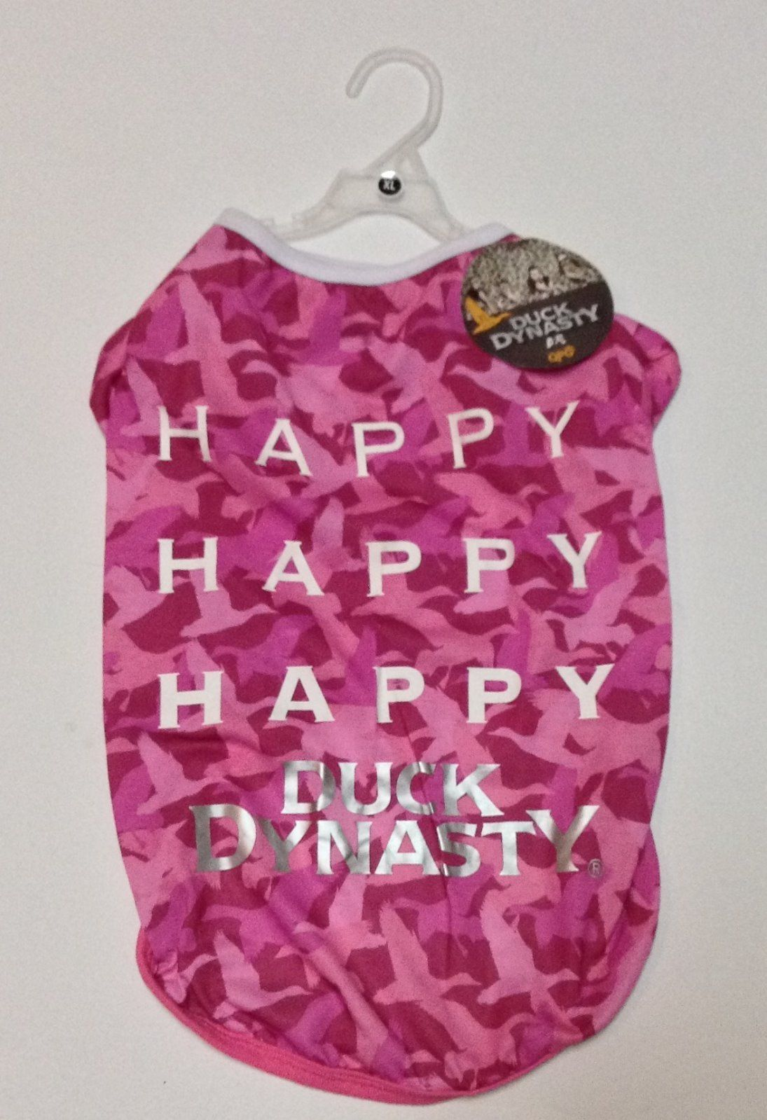 "Pink Duck Dynasty Pet Shirt NWT Sz XL 19-21"" HAPPY HAPPY"