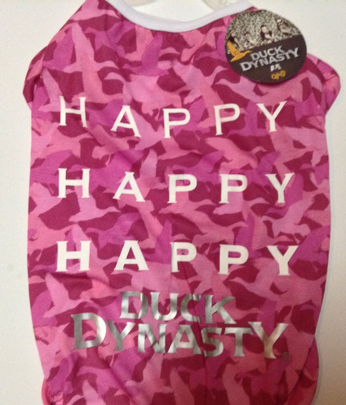 Pink Duck Dynasty Pet Shirt NWT Sz Large 16-18 HAPPY HAPPY