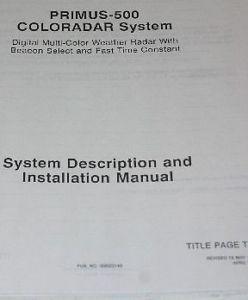primus 500 coloradar installation manual and 50 similar items rh bonanza com Manual Honeywell Primus Epic Honeywell Primus Radio Panel