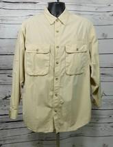 TravelSmith Men's Khaki Long Sleeve Button Down Shirt Size: L
