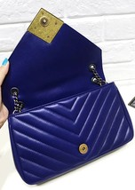 100% Authentic Chanel Royal Blue Lambskin Chevron Quilted Pyramid CC Flap Bag image 8