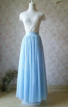 LIGHT BLUE Wedding Bridesmaid Tulle Skirt High Waist Floor Length Tulle Skirt image 1