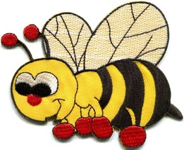 Honeybee honey bee insect fun retro sew sewing applique iron-on patch ne... - $2.95