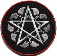 Wiccan pentagram pentacle white witchcraft goddess applique iron-on patch G-160 - $2.95