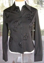 ❊ Long Sleeve Front Button Beaded Black Blouse Sz. M ❊ - $9.89