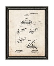 Nail Clipper Patent Print Old Look with Black Wood Frame - $24.95+