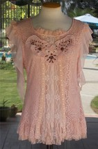 Peach Macrame Lace & Ruffles Pretty Angel Lined Beaded New Blouse Sz. S,L - $43.99