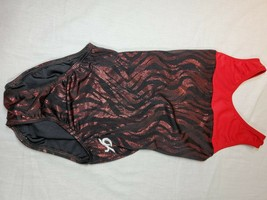 GK Elite GYMNASTICS red black metallic adult XS AXS leotard (#11) - $22.50