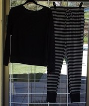 New Black Long Sleeve Pajama Top With Matching Striped Leggings Sz. S Petite - $17.81