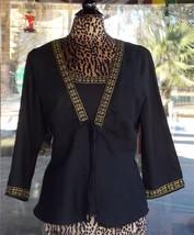 Black Linen Blend Embellished Tank Top With Matching Over Shirt Sz. 10 - $11.87