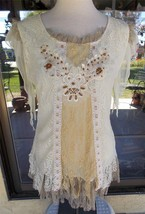 Gorgeous Macrame Lace & Ruffles Pretty Angel Lined Beaded Blouse Sz. S - $43.99
