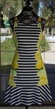 """New Sleeveless Lemon & Lime Sides Black Stripe Elle Dress Sz. 6  37"""" Bust - $26.72"""