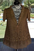 New Brown Pretty Angel Macrame Overlay Ruffle Neckline Over Shirt Sz. S,... - $46.99
