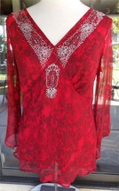Gorgeous Red Beaded & Embroidered Lined Long Sleeve Silk Blouse Sz. M - $12.86