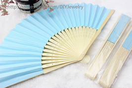 10 x Blue Summer Ladies Hollow Outdoor Folding Colorful Paper Hand Fans ... - $12.50