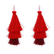 The Cats Pajama Sangria Ombre Fringe Tassel Drop Earrings - $42.00
