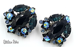 Judy-Lee Navette Earrings Jet Black & Ice Blue,  Molded Beads In Peacock... - $32.00