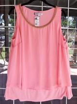 New Jenifer Lopez Sleeveless Layered Embellished Neckline Dressy Blouse ... - $24.74