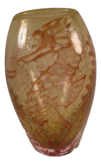Primary image for Kosta Boda Underworld-Amber Vase by Olle Brozen Seahorses NEW