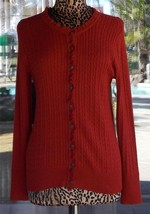Nice Eddie Bower Ruffle Trim Front Button Dark Orange Sweater Sz. M - $14.84