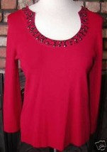 Red Cable & Gauge Beaded Red Sweater Top Sz. M - $9.89