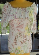 Paisley Print  Neck Cape Stretchy Pleat Blouse From Pretty Angel Sz. S-L  - $43.55