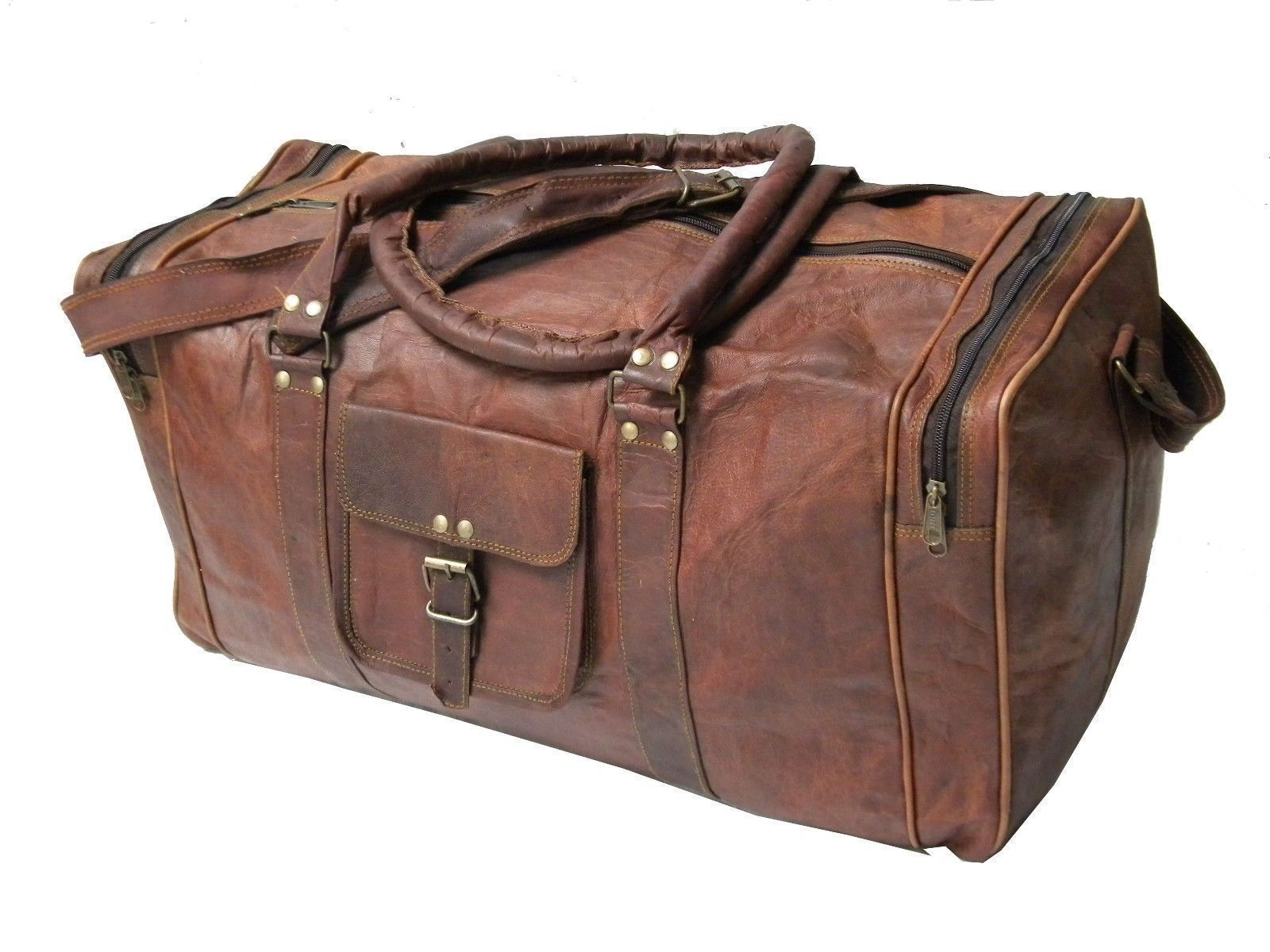 Men genuine Leather large vintage duffle travel gym weekend overnight bag tote