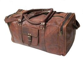 Men genuine Leather large vintage duffle travel gym weekend overnight ba... - $118.13