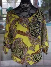 New Batwing Sleeves Leopard Print Back Draw String Tie Yellow Shirt Sz. L - $6.92