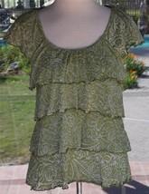Style & Co. Layered Ruffles Short Sleeve Burnout Shirt Sz. M Petite - $11.87