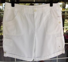 New White Stag Ribbed Waistband Cuffed Legs White Shorts Sz. 12 - $12.86