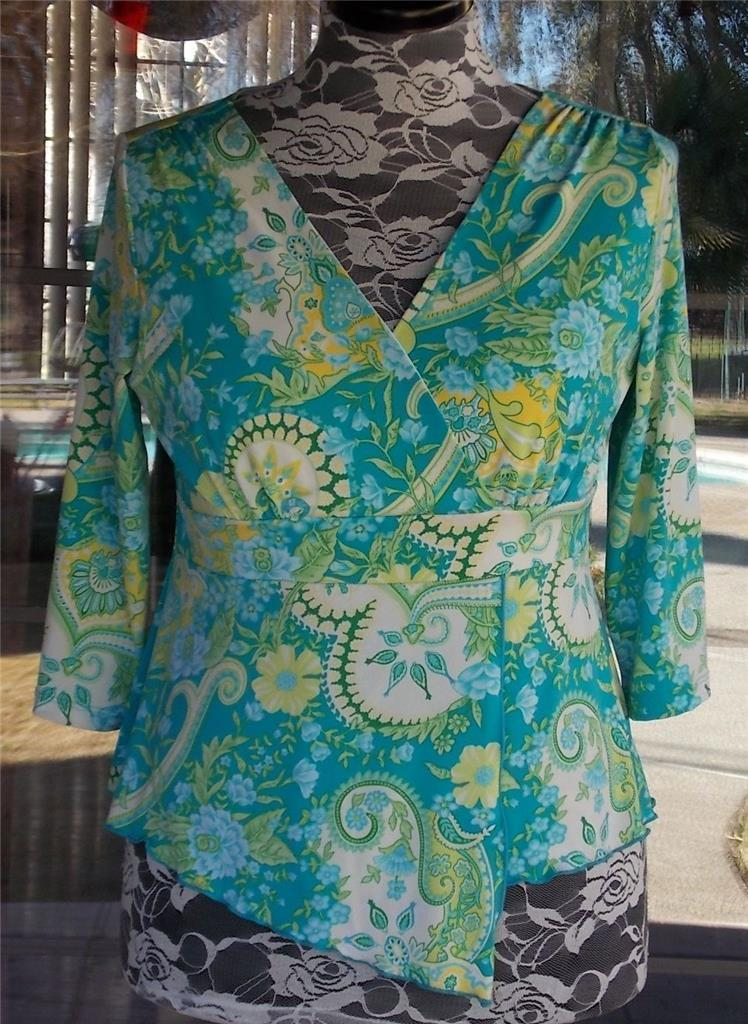 Primary image for Empire Waist Cross Over Bodice Split Front Lined Blouse Sz. L Petite