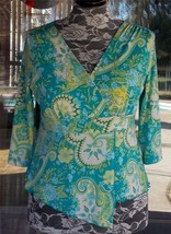 Empire Waist Cross Over Bodice Split Front Lined Blouse Sz. L Petite - $21.77