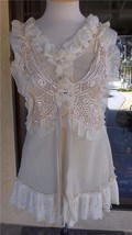 Pretty Angel Lacy Macrame Beaded Sleeveless Lined Blouse Sz S - $43.99