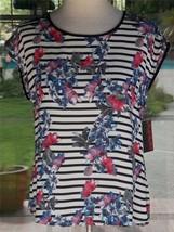 Neat Fancy Back Stripped Floral Sleeveless Bongo Shirt Sz. L Juniors - $34.64
